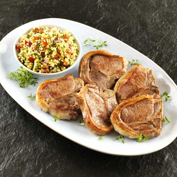 Lamb Centreloin Chops with Harissa Cous Cous